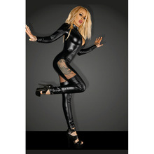 HU&GH 2017 New Stylish Woman Black Catsuit Long Sleeve Romper Zipper Patchwork Mesh Costume Faux Leather Vinyl Sexy Jumpsuit