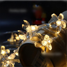 50 LED Cherry Floral LED Garland String Lights Battery Wedding party room Holiday Lighting Christmas Decoration Fairy lights