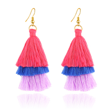 E059 Handmade Gold Color Tree Design Red Pink Tassel Earring Bohemia Style 3 Layers Tassel Drop Earring For Women Gift Wholesale