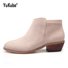 Yu Kube Suede Women Ankle Boots 2017 High Quality Winter Low Med Chunky Heels Western Cowboy Chelsea Booties Pointed Toe Shoes(China)
