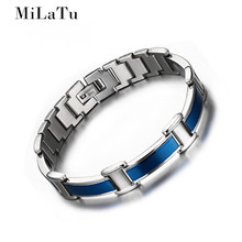 MiLaTu Tide Blue Health Bracelet Bangle For Men Germanium Bracelet Negative Ions Magnetic Elements Male Jewelry Gift B457(China)