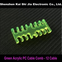 New Green Acrylic PC Cable Combs for 3mm modular Power Supply cable - 12 (6+6) Cable(China)