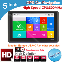 New 5 inch HD Car GPS Navigation 800MHZ FM/8GB/  2016 Maps For Russia/Belarus  Europe/USA+Canada TRUCK Navi Camper Caravan