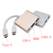 Type C Type-C to Type-C 4K HDMI USB3.0 Adapter 3 in 1 Hub Converter Cable For Apple for Macbook Type-C to HDMI