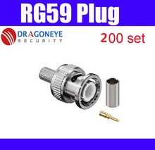 200 set 3 in 1 BNC Crimp BNC Male RG59 Connector for coaxial cable rg59 plug cctv accessories