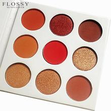 FLOSSY SUNFLOWER 9 Colors Pigment Shimmer Women Make Up Kosmetyki Palette Maquillage Eyeshadow Burgundy Palette Shadow Eyeshadow