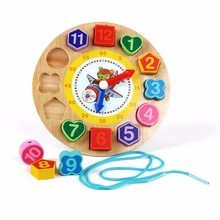 Woden Lacing Beads Puzzles Cute Zebra Animal Cartoon Educational Toys For Children Digital Wooden Clock(China)