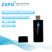 New ZAPO 600M Bluetooth 4.0 802.11b/n/g/ac dual band 2.4G-5G usb ethernet wifi dongle mini wireless adapter wi fi network card(China)