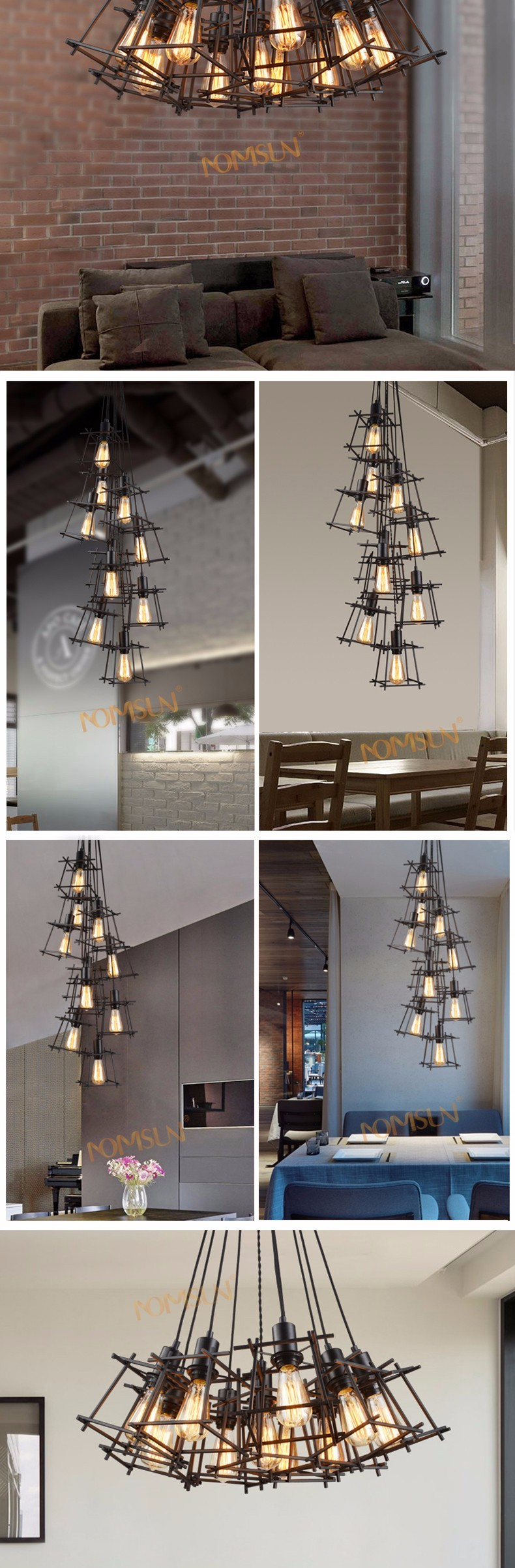 American Loft Vintage pendant light Personality Wrought Iron lights Edison nordic lamp industrial cage lamp lighting fixtures 2