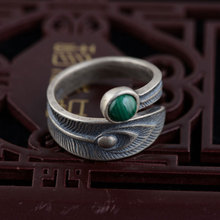GZ Natural Malachite Ring 925 Sterling Silver anillos Vintage Feather Adjustable S925 Thai Silver Rings for Women Men Jewelry