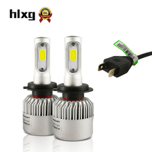 Wholesale Hot 2*72W 8000Lm Cob H7 Led Car Headlight 12V Super Bright 6000K Auto Lamp Automobile Fog Light 4000Lm Led Car H7 Led