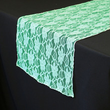 "1 Pieces Mint Green lace table runner 12""x108"" Table Runner Wedding Party Supply Decoration(China)"