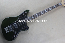 Hot sale 20 frets 4 strings green body electric bass guitar with black pickguard,chrome hardware,can be changed as request