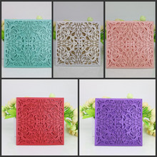 10pcs/lot NEW Hollow Flowers Laser Cut Wedding Invitations Square Shape Engagement Wedding Party Invitation Cards European Style