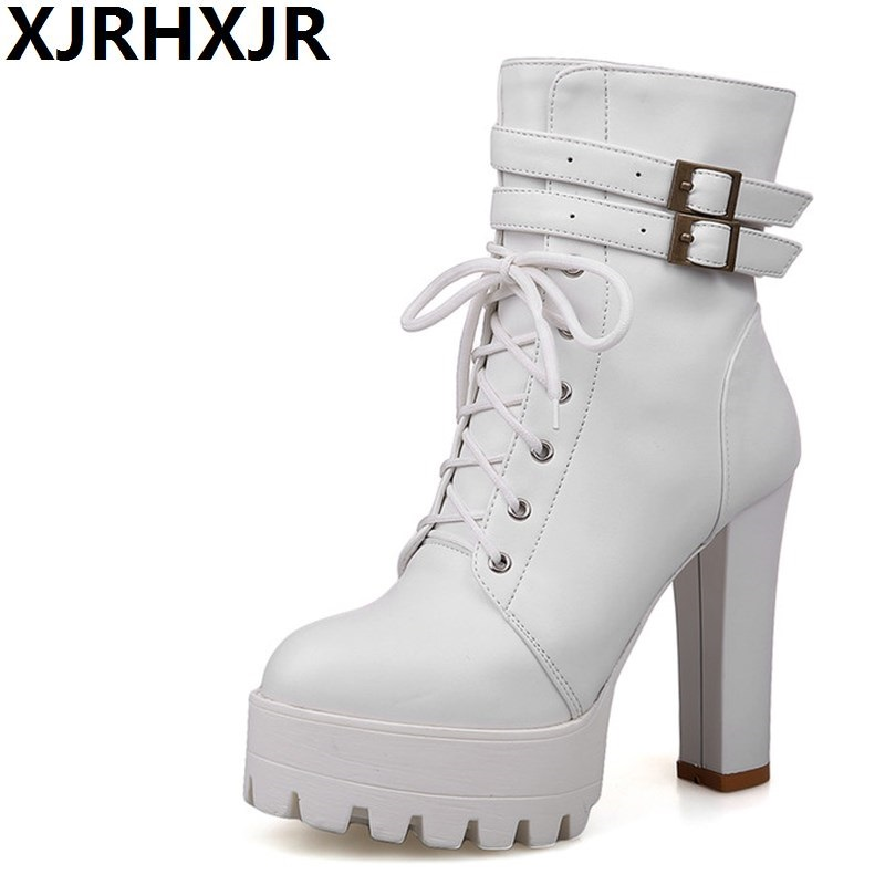 XJRHXJR Black Brown White Color Platform Martin Boots Autumn Winter High Heels Women Ankle Boots With Buckle Fashion Thick Heel<br>