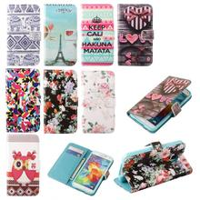 New Arrival Flip Flowers Design Wallet Stand PU Leather Cover Case For iPhone 4 4G 4S Tower Cartoon Print Cell Phone Bags Case