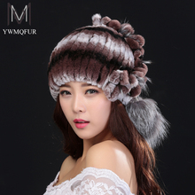 YWMQFUR Winter women fur hat knitted rex rabbit fur caps with fox fur flowers stripe fur beanies fashion women causal hats H03
