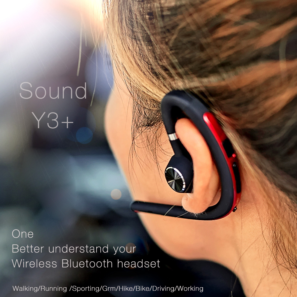 Lymoc Upgrade Y3+ Bluetooth Earphone Handsfree Ear Hook Wireless Headsets V4.1 Noise Cancelling HD Mic Music For iPhone Huawei 3
