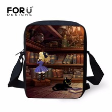 FORUDESIGNS Book Crossbody Bag Bookshelf Shoulder Bag for Women Men Retro Library Girls Boys Leisure Messenger Bag sac a main(China)