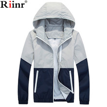 Riinr New Jacket Men Windbreaker Autumn Spring Fashion Jacket Men's Hooded Casual Jackets Male Coat Thin Men Coat Outwear Couple(China)