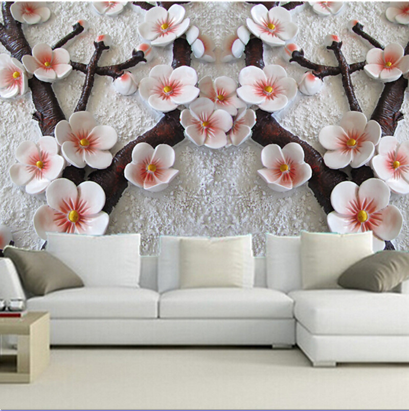 The custom 3D murals,3 d mural, the plum blossom in the snow ,living room sofa TV wall bedroom background wall paper<br>