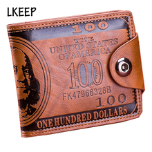 New Design Fashion Dollar Pattern Card Holder Men Wallets Cash Clutch Pocket Wallet Fashion Short PU Leather Men Purse
