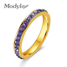 Modyle Gold-Color TOP Class Full Rhinestones Studded Eternity Wedding Ring(China)