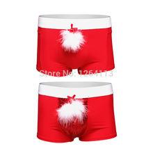 2016 New Year Christmas Underwear Men's  Boxer  Shorts  Feather+Bead Piece Have S-XL red Color Sexy Men  Halloween Costumes
