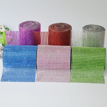 1Yard 24 rows 12cm Colorful Diamond Mesh Trimming Wrap Roll Sparkle Hot Fix Rhinestone Crystal Cake Ribbon Wedding Party Decors