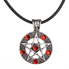 Invert Pentacle Pentagram Star Pewter Fashion Pendant Necklace For Lady Boy Man alchemist Necklace(China)