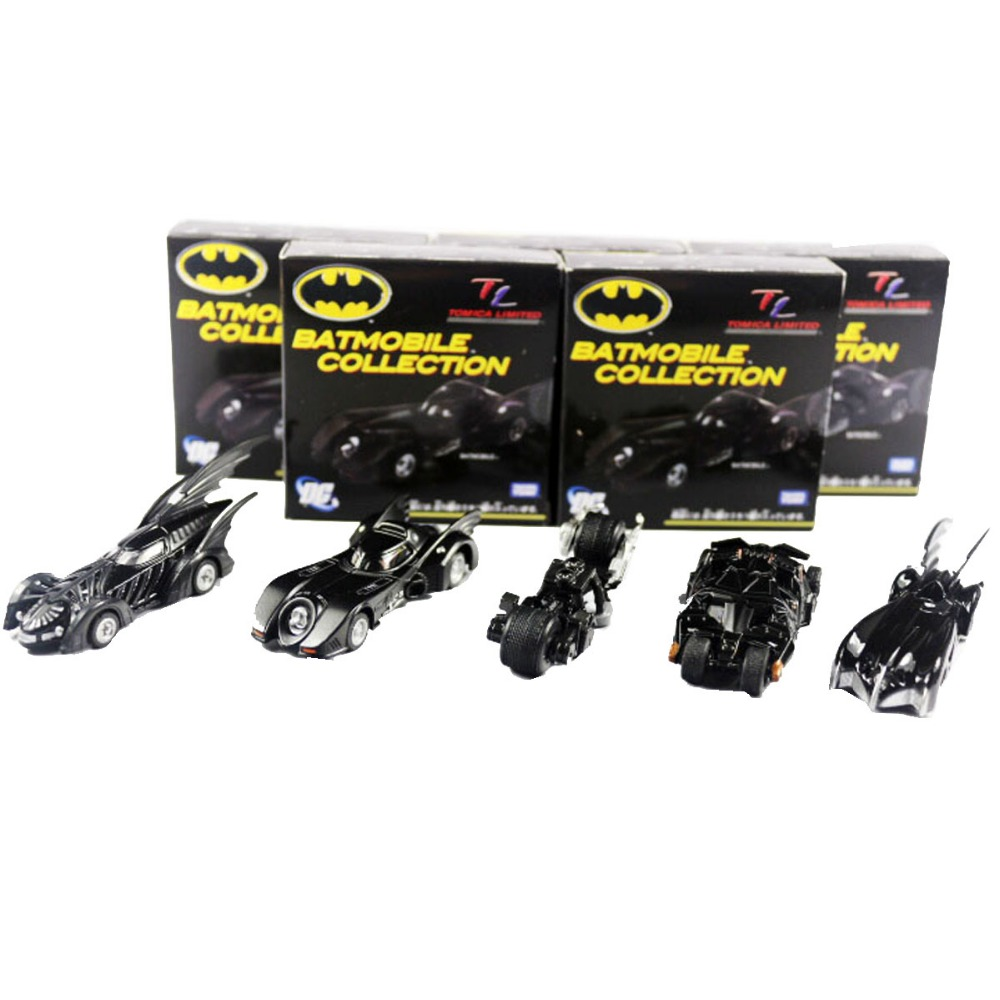 5pcs Set DC Tomica Limited TC Batmobile Collectible Batman Metal Car Model Boys Toy 7cm/2.8 New in Box DC006004<br>