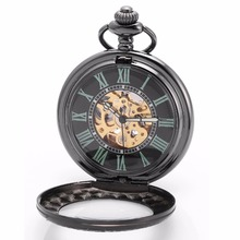 Unique Roman Numerals Skeleton Cover Movement Hand Winding Relogio Clock Chain Fobs Pendant Mechanical Pocket Watch Gift /WPK200