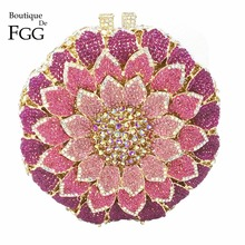 Dazzling Women Flower Bud Hollow Out Circular Lavender Combo Crystal Clutch Evening Bags Metal Mini Minaudiere Shoulder Handbags