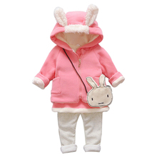 2017 Fashion Full Autumn Winter Girls Children Thickening Suit Jacket Baby Clothes Two in One Hooded Coat Pant Kids Clothing Set(China)