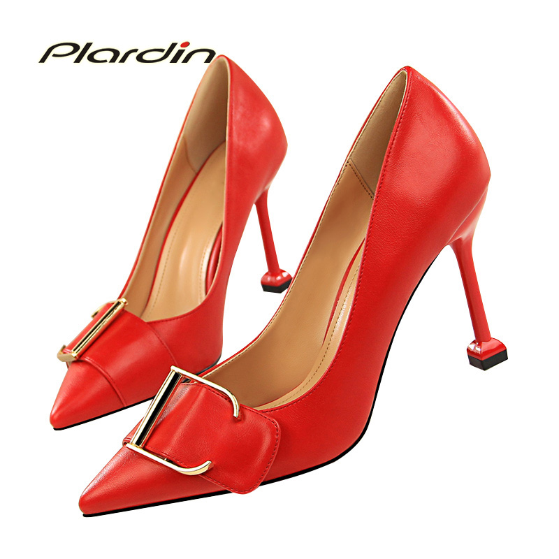 plardin 2018 Woman Four Seasons Concise Fashion Shallow Pointed Toe women shoes hoof heels Shallow Buckle Strap women Pumps<br>