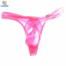 Buy 2016 Men Sexy Thongs Fashion G Strings low waist Underwear Smooth ice silk Thong Bikini Gay Men Underwear Jockstrap Gay
