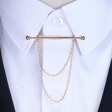 2017 Hot Sale Brooches Broches High-end Fashion Personality Brooch Tassel Chain Clip Collar Shirt Buttoned Pin Male Accessories(China)