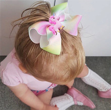 5 Inch Fashion Cute Unicorn Hairpins Grosgrain Rainbow Ribbon Hair Bow hair Clips Kids Hair Accessories