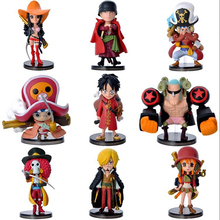 9pcs/set One Piece Anime set Figures Monkey D Luffy Roronoa Zoro Nami Sanji Tony Chopper Nico Franky Brook Full Toys Y6208