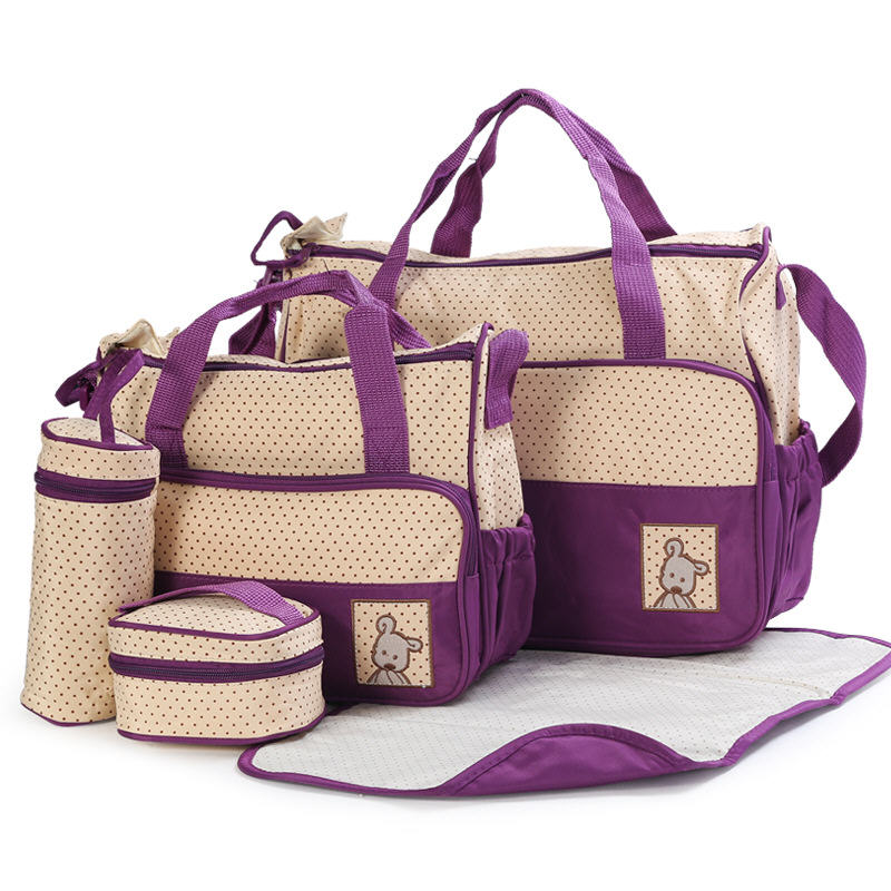 Easy to Carry 5pcs Baby Diaper Bag Suits For Mummy Bag Baby Bottle Holder Stroller Maternity Nappy Bags Sets (8)