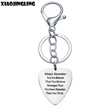 XIAOJINGLING Fashion Lobster Claw Key Ring Guitar Pick Pendant Keychain Charm Quality Keyring Always Remember Believe You Gifts(China)
