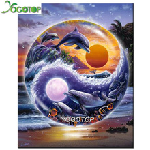 YOGOTOP DIY Diamond Painting Cross Stitch dolphins Needlework 5D Diamond Mosaic Painting Full Diamond Embroidery ZB057