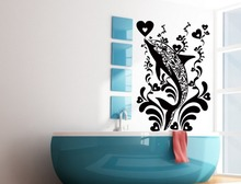 Home Bathroom Art Decor Fish In The Water In Tribal Pattern Wall Stickers Home Creative Decoration Vinyl Wall Murals WM-077