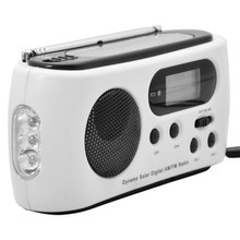 Powered Digital AM / FM Radio Multi-function Mini Portable Solar Dynamo Power with 3 LED Flashlight
