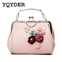 YQYDER New Woman Bags Flower Metal Frame Handbag Beaded Messenger Bag PU Crossbody Bag Brands Design Female Tote Pouch Sac