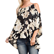 Plus Size Women Clothing Off Shoulder Floral Print Blouses 3/4 Flare Sleeves Asymmetrical Casual Sexy Shirts Blusas 5XL Top 2017