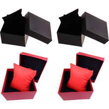 1pcs Cardboard Bracelet Box with Non-woven Fabrics Cube black red colors for choice Display Packaging Gift Box 88x82x50mm