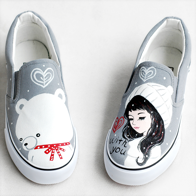 SexeMara Brand 2017 New Canvas Shoes Women Loafers Personalized Hand-painted Girls Bears Footwear Graffiti Shoes Zapatos Mujers<br><br>Aliexpress
