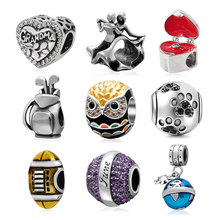 Authentic 925 Sterling Silver proposal ring box Rugby dancing couple Claws charm Beads bijou fit for Pandora bracelets Necklace(China)