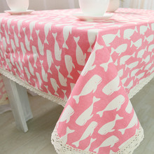 1pcs Whales Pattern Pink Cotton linen tablecloth Wedding Party Table cloth Cover Home decor decoration Tablecloths 44054